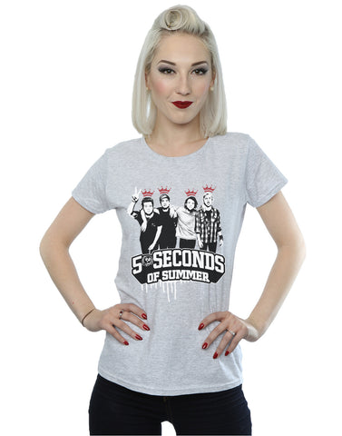 5 Seconds of Summer Women's Band  Crowns T-Shirt Large Heather Grey Front Image