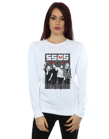 5 Seconds of Summer Women's Crowns Splatter Sweatshirt Large White Front Image