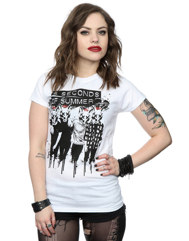 5 Seconds of Summer Women's Fox Faces T-Shirt Large White Front Image