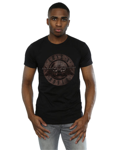 Guns N Roses Men's Sepia Bullet Logo T-Shirt Large Black Front Image