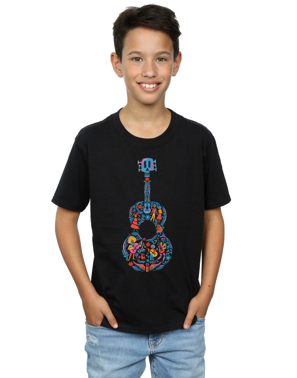 Disney Boys Coco Guitar Pattern T-Shirt