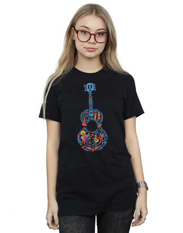 Disney Women's Coco Guitar Pattern Boyfriend Fit T-Shirt
