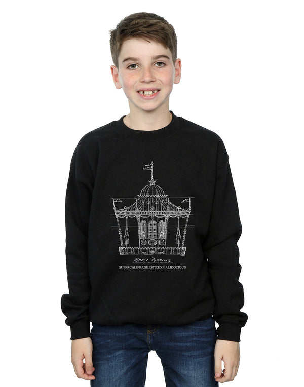 Disney Boys Mary Poppins Carousel Sketch Sweatshirt | Absolute Cult