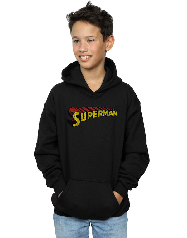 DC Comics Boys Superman Telescopic Crackle Logo Hoodie