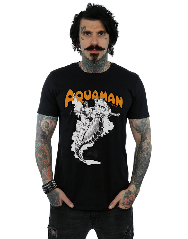 DC Comics Men's Aquaman Mono Action Pose T-Shirt | Absolute Cult