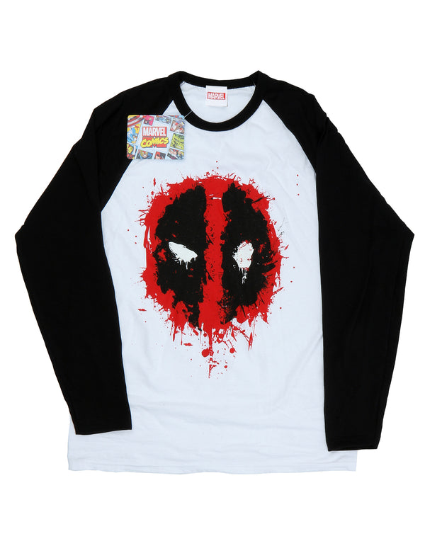 Marvel Men's Deadpool Splat Face Long Sleeved Baseball Shirt | Absolute Cult