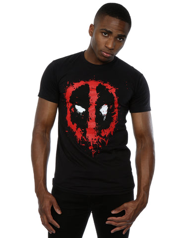 Marvel Men's Deadpool Splat Face T-Shirt Medium Black Front Image
