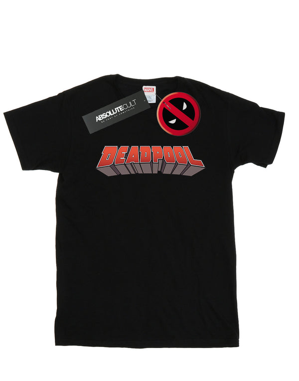 Marvel Women's Deadpool Text Logo Boyfriend Fit T-Shirt