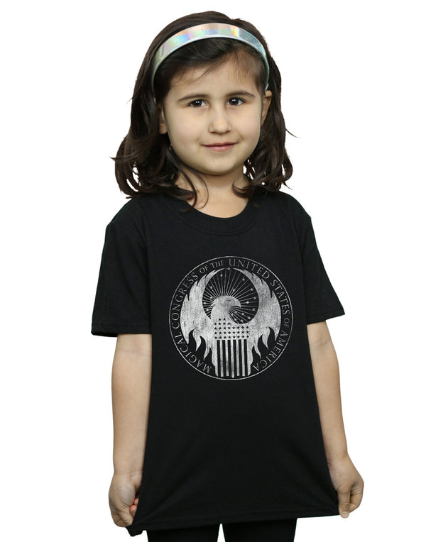 Fantastic Beasts Girls Distressed Magical Congress T-Shirt | Absolute Cult
