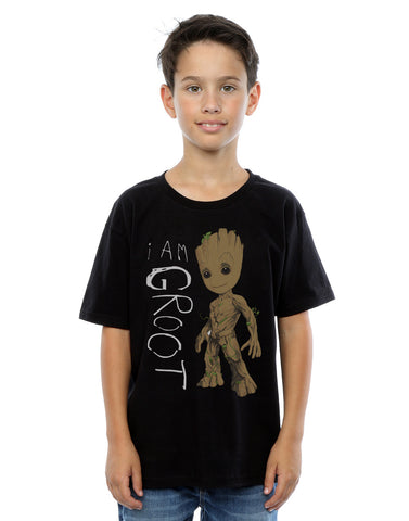 Marvel Boys Guardians of the Galaxy I Am Groot Scribbles T-Shirt Front Image