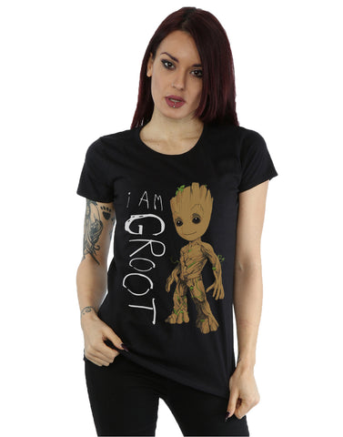 Marvel Women's Guardians of the Galaxy I Am Groot Scribbles T-Shirt Large Black Front Image