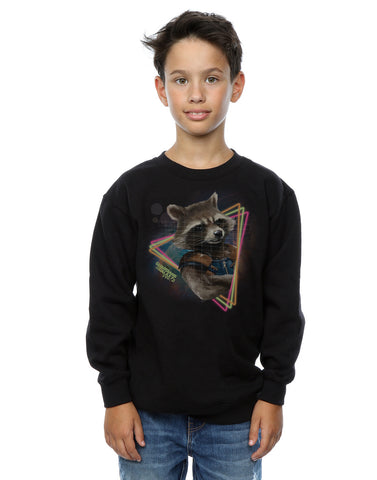 Marvel Boys Guardians of the Galaxy Neon Rocket Sweatshirt 7-8 Years Black Front Image
