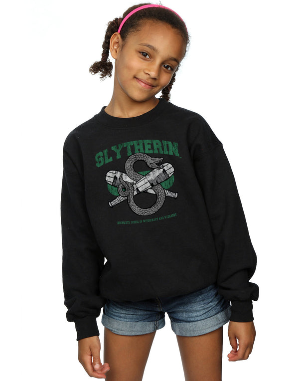 Harry Potter Girls Slytherin Quidditch Emblem Sweatshirt | Absolute Cult