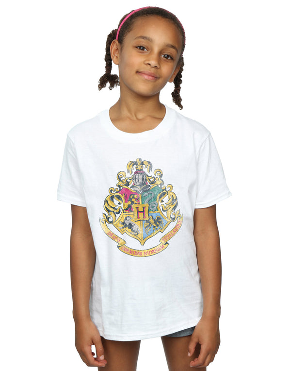 Harry Potter Girls Hogwarts Distressed Crest T-Shirt