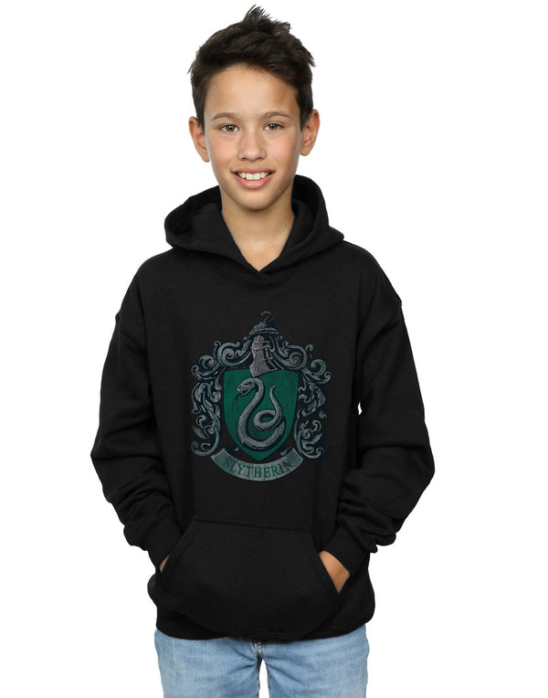 Harry Potter Boys Slytherin Distressed Crest Hoodie | Absolute Cult