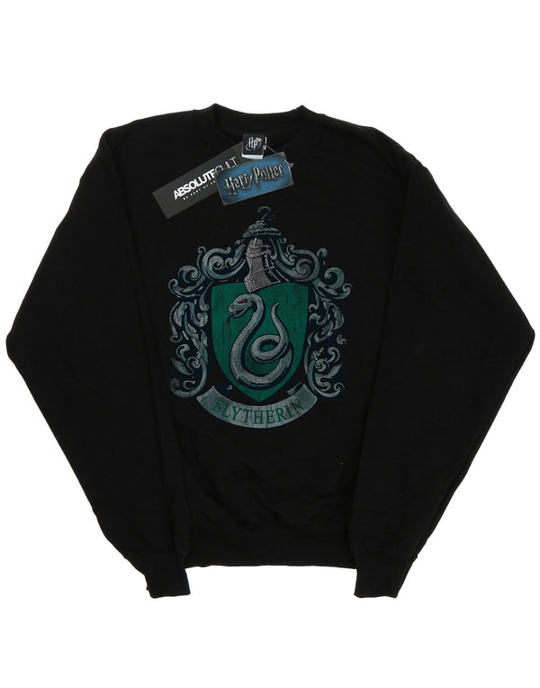 Harry Potter Boys Slytherin Distressed Crest Sweatshirt | Absolute Cult