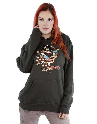 DC Comics Women's Bombshells Wonder Woman Badge Hoodie Large Charcoal Front Image