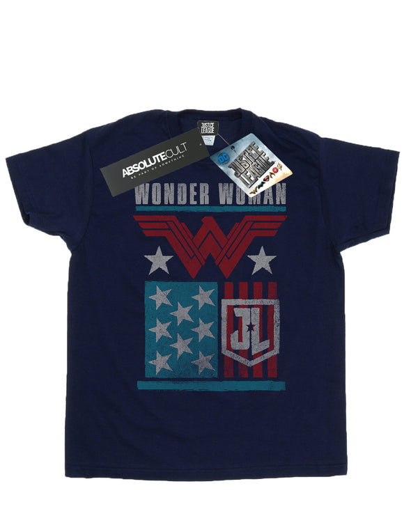 9443ecb41 DC Comics Men's Justice League Movie Wonder Woman Flag T-Shirt ...