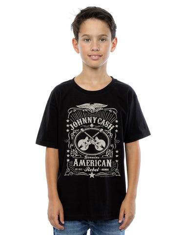 Johnny Cash Boys American Rebel T-Shirt 7-8 Years Black Front Image