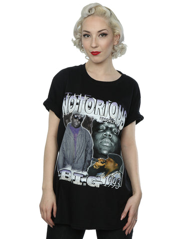 Homage Women's Notorious BIG Montage Boyfriend Fit T-Shirt Large Black Front Image