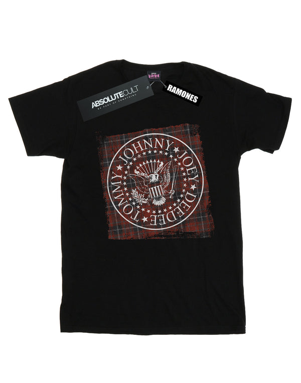 Ramones Women's Red Plaid Seal Boyfriend Fit T-Shirt | Absolute Cult