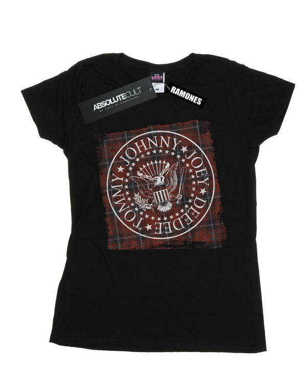 Ramones Women's Red Plaid Seal T-Shirt | Absolute Cult