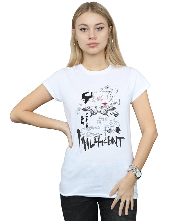 Disney Women's Maleficent Mistress Of Evil Growing Wild Collage T-Shirt | Absolute Cult