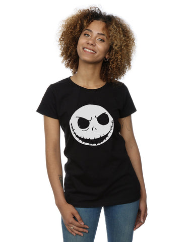 Disney Women's Nightmare Before Christmas Jack Skellington Face T-Shirt Large Black Front Image