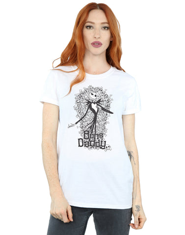 Disney Women's Nightmare Before Christmas Bone Daddy Boyfriend Fit T-Shirt Medium White Front Image