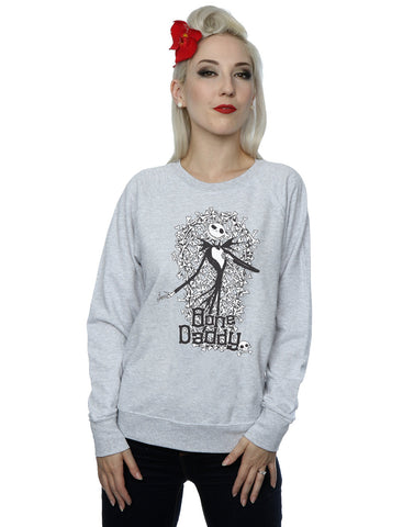 Disney Women's Nightmare Before Christmas Bone Daddy Sweatshirt Medium Heather Grey Front Image