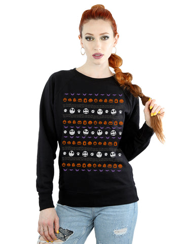Disney Women's Nightmare Before Christmas Halloween Icons Sweatshirt Large Black Front Image