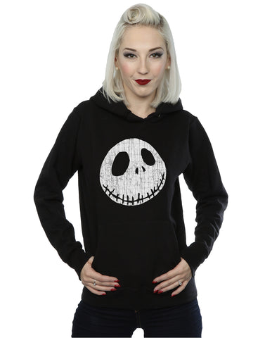 Disney Women's Nightmare Before Christmas Jack Cracked Face Hoodie Large Black Front Image