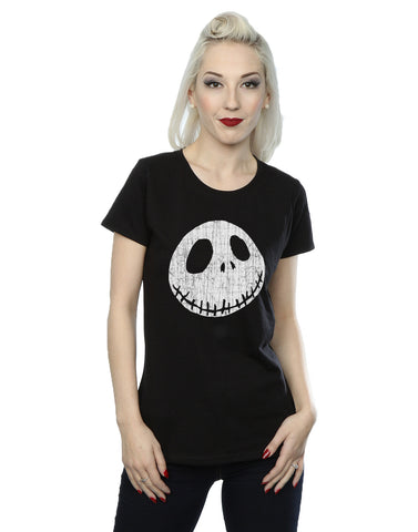 Disney Women's Nightmare Before Christmas Jack Cracked Face T-Shirt Large Black Front Image