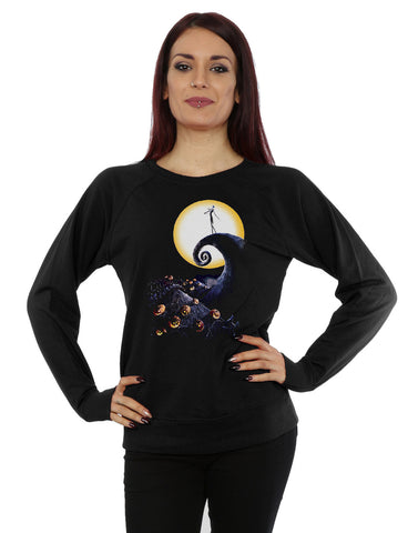 Disney Women's Nightmare Before Christmas Cemetery Sweatshirt Large Black Front Image