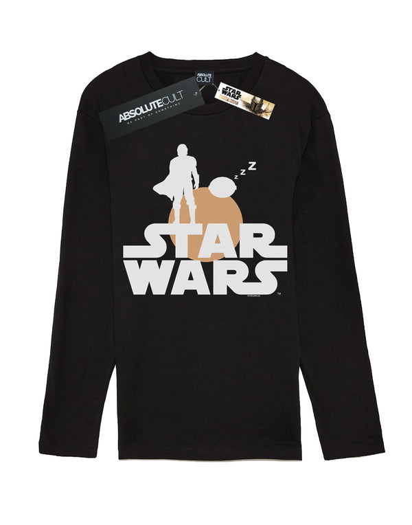Star Wars Men's The Mandalorian Mando And The Child Silhouette Long Sleeved T-Shirt