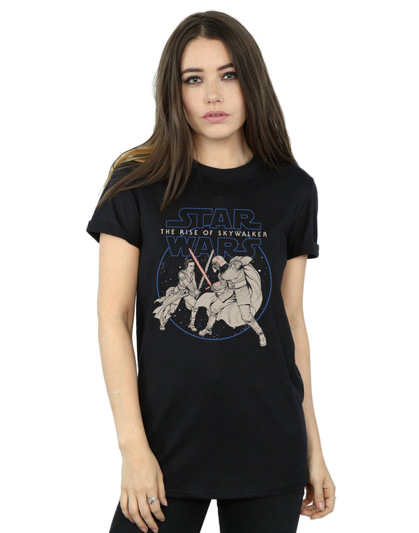 Star Wars The Rise Of Skywalker Rey And Kylo Combat Women's Boyfriend Fit T-Shirt | Absolute Cult