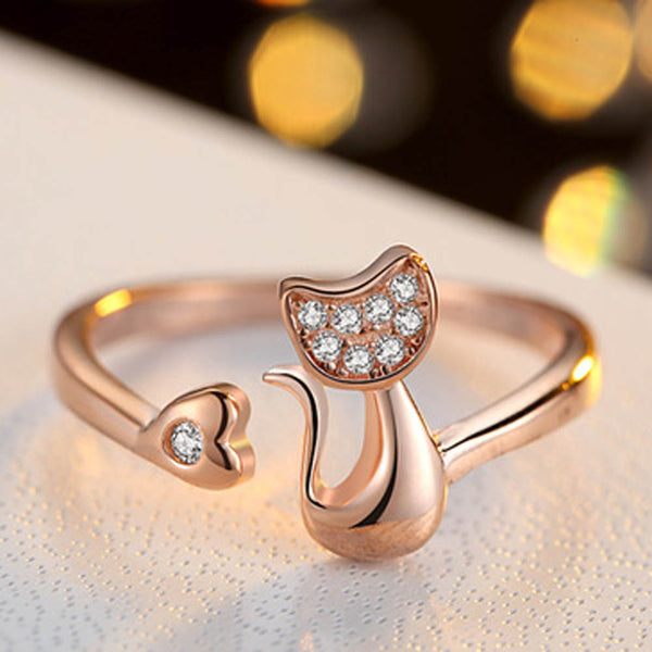 Delicate Rose Gold Silver Tone Lovely Cat Shape Clear Crystal Ring