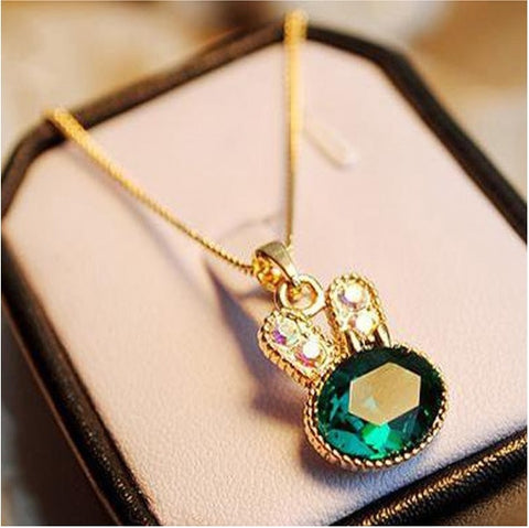 Exquisite Bunny Gem with Sparkling Rhinestone Necklace