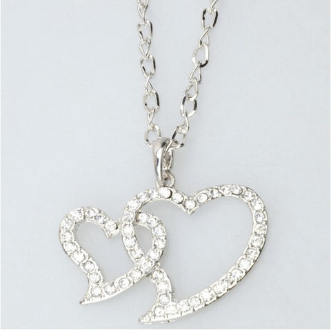Lovely Double Heart-shaped Rhinestone Pendant Necklace Silver