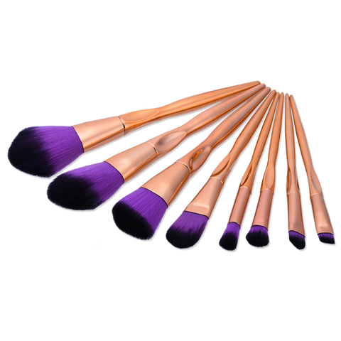 8 Pcs Rose Gold Handle w/Purple and Black Tip Makeup Brush Set - The Fashion Armoire Ltd. Co.