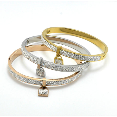 Rhinestone Lock Bracelet Bangles - The Fashion Armoire Ltd. Co.