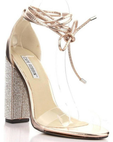 Lace Up Rhinestones Heels - The Fashion Armoire Ltd. Co.
