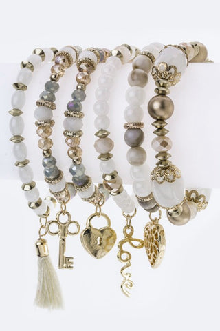 Mix Bead & Charm Stretch Bracelets Set - The Fashion Armoire Ltd. Co.