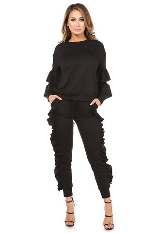 RUFFLE DETAILED PULL OVER AND JOGGER SET - The Fashion Armoire Ltd. Co.