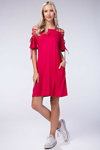 Solid Knit  Sleeve Dress - The Fashion Armoire Ltd. Co.