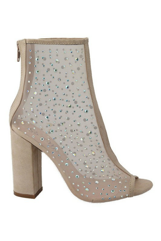 Sheer Mesh Rhinestones Open Toe Ankle Boots - The Fashion Armoire Ltd. Co.