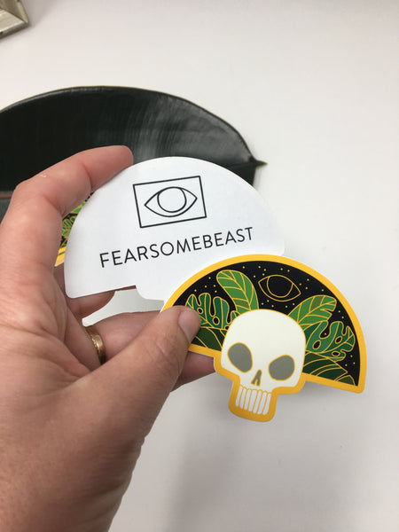 Skull and Leaves Sticker