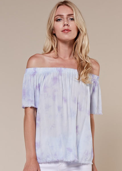 Tie Dye Frayed Hem Top