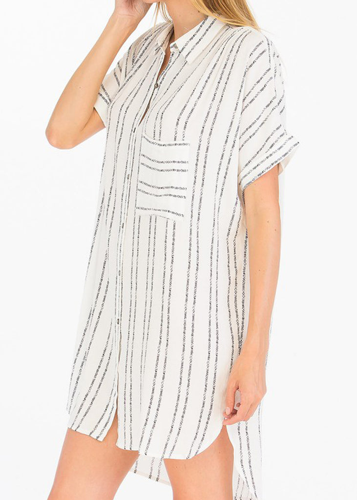 Etched Striped Shirt Dress