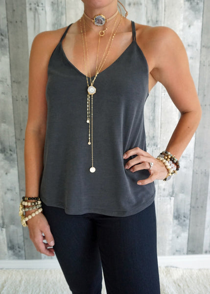 Strappy V-Neck Washed Jersey Knit Top